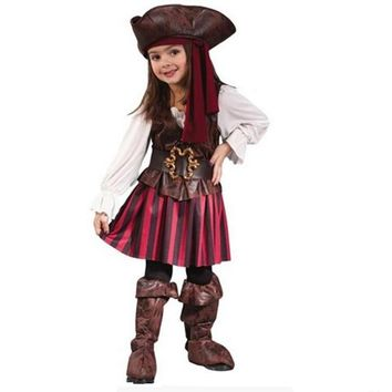 Children Girls Elis Pirate Captain Cosplay costume New Year Christmas Party Dress