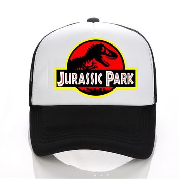 Jurassic Park Dinosaur Print Flat Bill Visor Trucker Caps Mesh Gorras Men Summmer Fashion Adjustable Snapback Hats Free Shipping