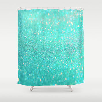 turquoise shower curtain.blue shower curtain.bath decor.sparkle shower curtain.glitter shower curtain.teal shower curtain.sea shower curtain