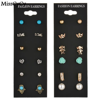 MissCyCy Fashion Accessories Pearl Stud Earring Pack Set 6 Pairs Turquoise Palm Cute Baby Square Flower Mask Gift Women Brinco