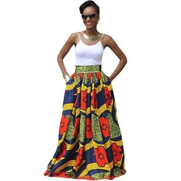 DCCKL3Z 2017 Fashion Women African Print Long Skirt Ankara Dashiki High Waist A Line Maxi Long Umbrella Skirt Ladies Jupe Longue Femme