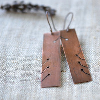 Rustic copper earrings - handmade artisan jewelry - geometry brown dangle earrings by Alery