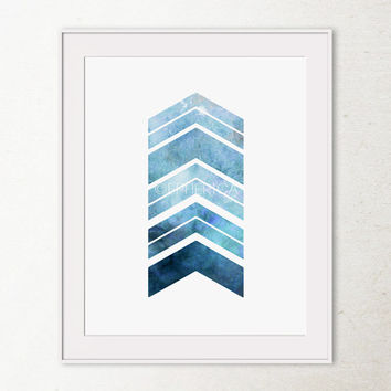 Navy Blue Art Print, Printable Wall Art Chevron Arrows Art Print, Bedroom Decor, Arrows Print Geometric Art Print, Home Office Art Printable