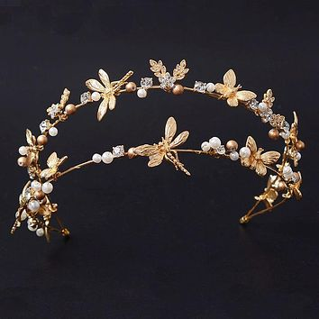 Dragonfly Butterfly Hairband Tiaras Handmade Rhinestone Crown