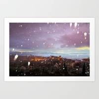Snowing in the Alhambra, Granada, Spain at sunset Art Print by Guido Montañés