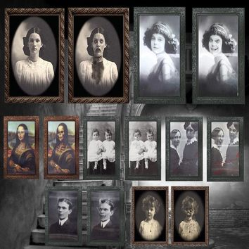 Replaceable 3D Ghost Photos Frame Halloween Decoration Spooky Bachelorette Party Supplies Craft Supplies Halloween Props A30
