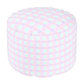 Square Inserts Design Polyester Mini Cylinder Pouf