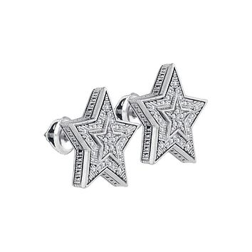 Sterling Silver Womens Round Diamond Star Cluster Stud Earrings 1/10 Cttw