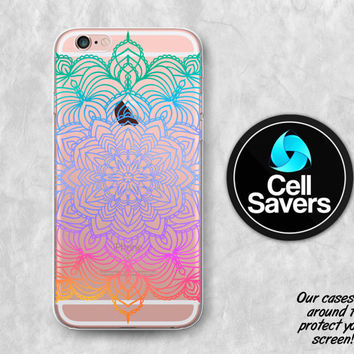 Rainbow Mandala Clear iPhone 6s Case iPhone 6 Case iPhone 6 Plus Case iPhone 6s Plus iPhone 5c Case iPhone 5 Clear Case Henna Ombre Tumblr