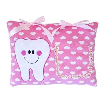"""Tooth Fairy Pillow Pink With Hearts Hearts 9x11.5"""""""