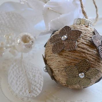 Rustic Ornament, Ball Ornament, Shatterproof Ornament, Shabby Chic Ornament, Fall X-Mas Decor, Jute Twine Ornament