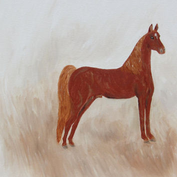 Horse Oil Painting Chestnut Color by DazzlingAccents on Etsy