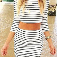 Fashion Short sleeve striped two-piece