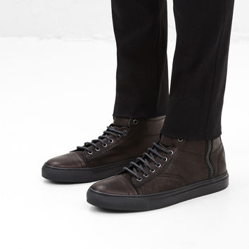Totokaelo - Wings + Horns Black Leather Hi Top Sneaker - $420.00