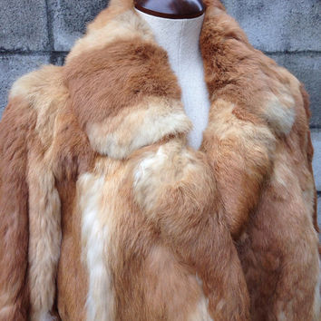 Rabbit Fur Coat Vintage 1970s Jacket Women's