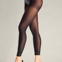 Opaque Footless Lace Trim Pantyhose