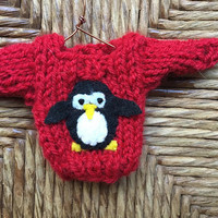 Penguin Ornament, Mini Sweater Ornament with Penguin Applique, Penguin Lover, Penguin Gift, Ornaments for Kids, Xmas Decor Christmas Sweater