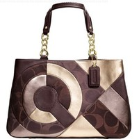 New Authentic COACH Signature Inlaid Patchwork Chocolate Multicolor Leather Tote 20013 w/Coach Receipt