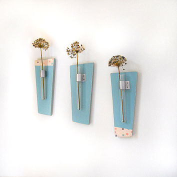 Flower Vase Test Tubes SKY modern wood wall mount by redtilestudio