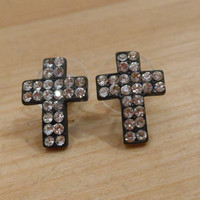 Rhinestone Cross Earrings - Clear Crystals & Black Cross Earrings