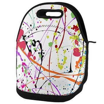 Splatter Paint White Lunch Tote Bag