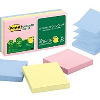 Post-it Greener Pop-up Notes, 3 in x 3 in, Helsinki Collection, 6 Pads/Pack (R330RP-6AP)