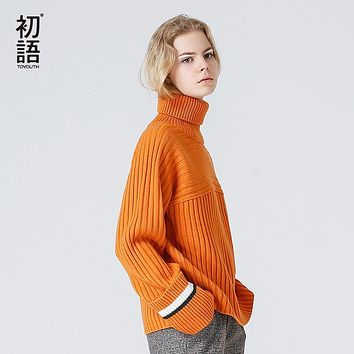 Toyouth Sweaters 2017 Autumn Women Vintage Contrast Color Fashion Loose Turtleneck Knitted Pullover Sweater