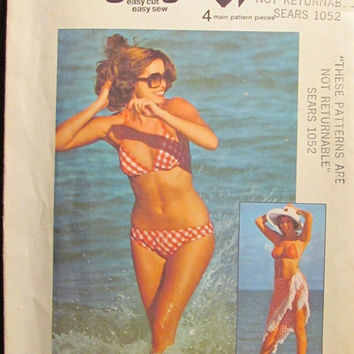 SALE Uncut 1970's Simplicity Sewing Pattern, 6921! Jiffy Easy Cut Swimsuit Pattern/Bikini Top & Bikini Bottom/Bras/Panties/Size 12 Sml/Mediu