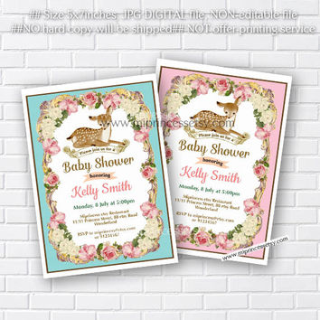Deer baby shower invitation,  girl baby shower, boy baby shower invitation vintage frame Fawn baby shower or kids birthday - card 296