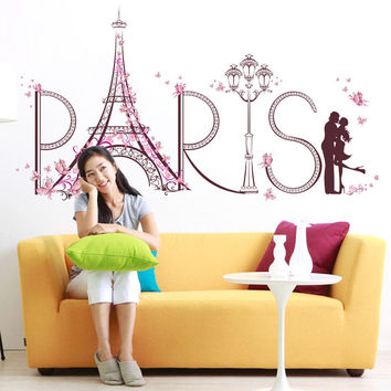 Home Decor Supplies Living Room Decorative DIY Wall Stickers Romantic Paris Art Visual Wall Sticker PVC Wallpaper House Decals