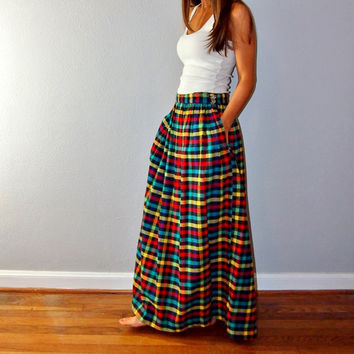 Vintage Plaid Flannel Maxi Skirt // Boho Maxi Skirt // Yellow Red Green Teal Turquoise Gray // Winter Skirt
