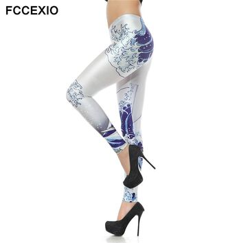 The Great Sea Wave Printed leggings Adventure Time High Waist Elastic Fitness Basic Leggings