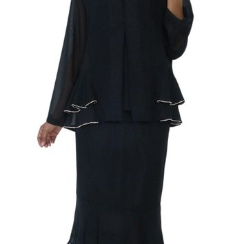 Hosanna 5135 Plus Size 3 Piece Set Black Tea Length Dress