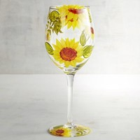 Sunflower Painted Wine Glass