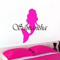 Personalized Name Wall Decals Girl Decal Vinyl Water Sticker Mermaid Art For Nursery Bedroom Home Decor Murals MN963