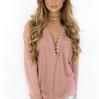 Beat It Mauve Lace Up Top