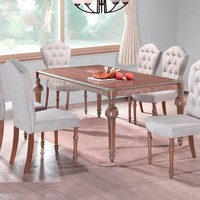 7 pc Heritage collection medium antique brown finish wood dining table set