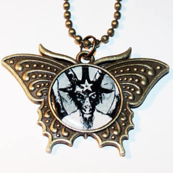 Baphomet Necklace, Satanic Jewelry, Devil, Pagan, Occult, Bronze Butterfly Pendant