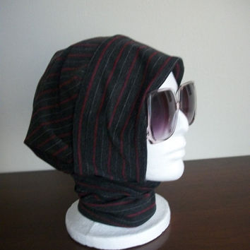 Gray with Red Pinstripes Hijab Hat No 4 by HijabHats on Etsy