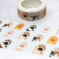 cat paw washi tape 7M hands up hello cat meow meow cartoon cat pussy cat masking tape cat theme cat diary planner sticker cat gift decor