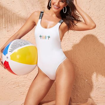 Letter Strap Low Back One Piece Swimsuit