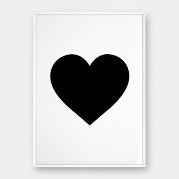 Heart Wall Art, Scandinavian Poster, Heart Print, Love Print, Love Art, Black Printable, Black Heart, Black Decor, Heart Art, Minimalist Art