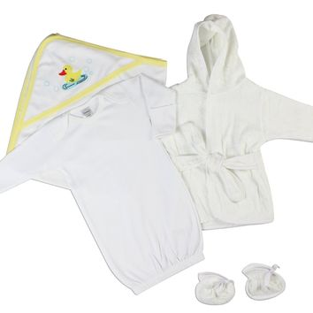 Bambini Neutral Newborn Baby 3 Pc Layette Set (Gown, Robe, Hooded Towel)  - Made in USA