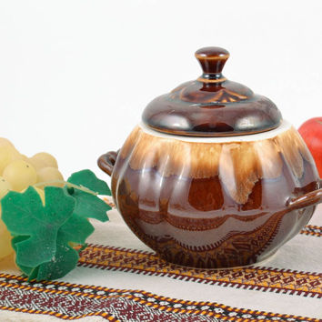 Beautiful handmade designer clay sugar bowl in the shape of pumpkin 350 ml