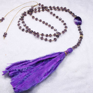 Long Bead Boho Tassel Necklace, Silk Tassel Necklace, Faceted Bead Lariat, Purple Bead Necklace, Purple Yoga Mala necklace, Rosary necklace