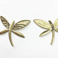 set of 3 pieces dragonfly charms, 54mm x 52mm, antique gold metal alloy - C125