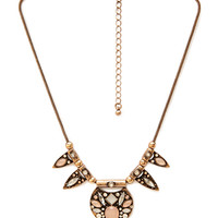 FOREVER 21 Art Deco Statement Necklace Peach/Gold One