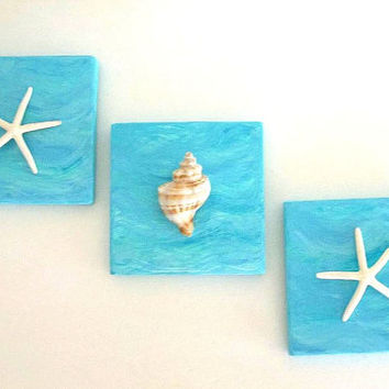 THREE Beach Decor Wall Art, Starfish Seashell wall hangings, hand painted wood Coastal Nautical Wall Decor, sea shell aqua turquoise blue