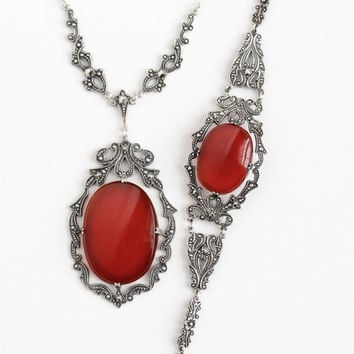 Vintage Sterling Silver Carnelian Marcasite Necklace and Bracelet Set - Art Deco 1930s Dark Red Gem Flower Filigree Lavalier Jewelry Parure