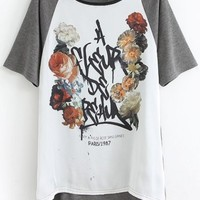 Color Block Floral Tee